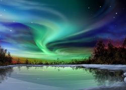 Northern Lights or Aurora Borealis, Siberia, China in Ramayana