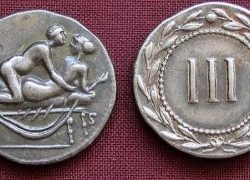 Spintriae Ancient Rome Token with Sexual Acts and Symbols