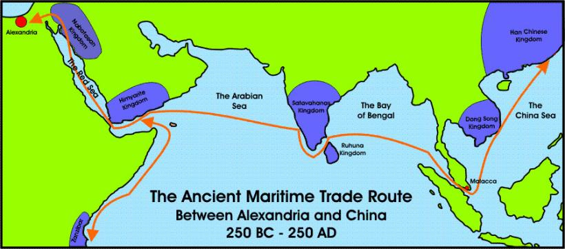 Ancient maritime route between india egypt africa china 350 bc ancient maritime sea route india egypt china publicscrutiny Images