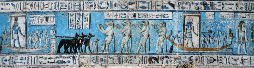 Dendera Temple Vanaras (Monkey faced humans with tail) in Egypt
