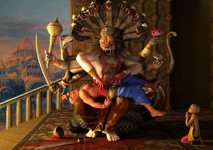 Narasimha Killing Hiranyakasipu