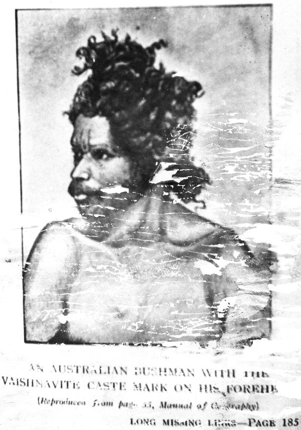 Australian bush man with  Vedic (Vaishnavite) Tilak on forehead