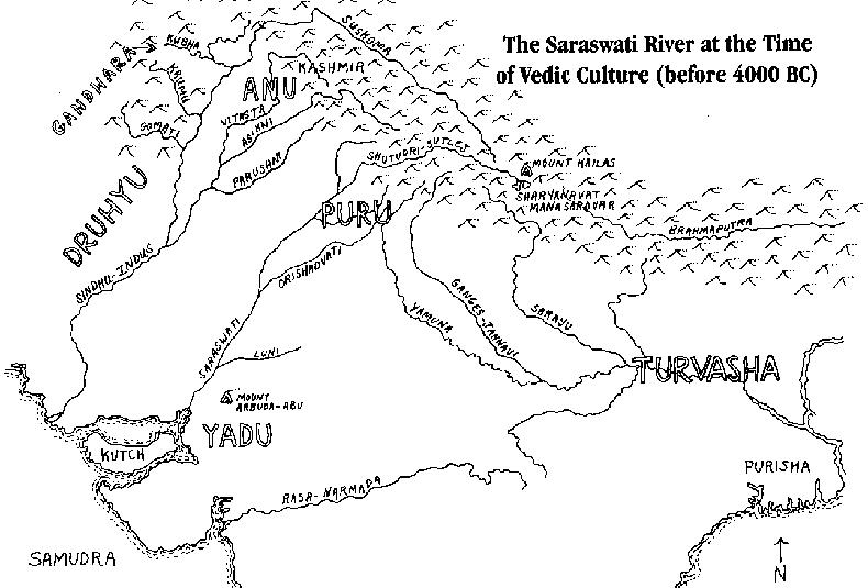 Saraswati River Map (around 4000 BC)