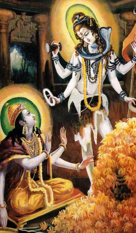 Siva giving Sudrarsana Chakra to Vishnu