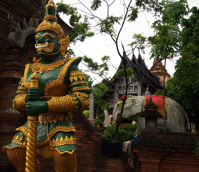 yaksha guarding wat phra kaew  temple in bangkok