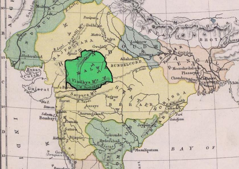 Malwa Kingdom Map 1780 CE