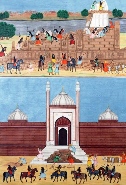 Mathura Temple desctruction by Aurangzeb Mughal Painting