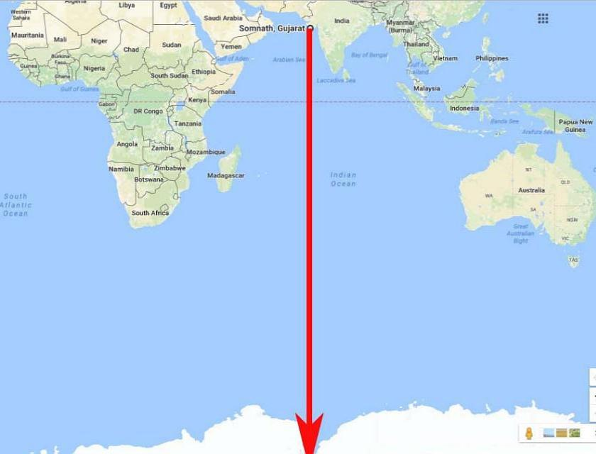 Somnath to Antarctica straight line