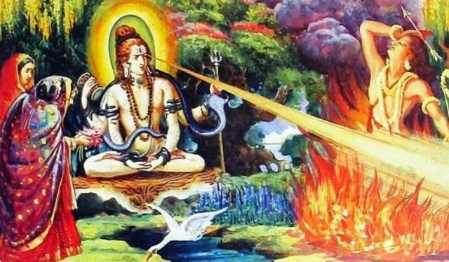 Shiva burning Kamadeva or Manmadha
