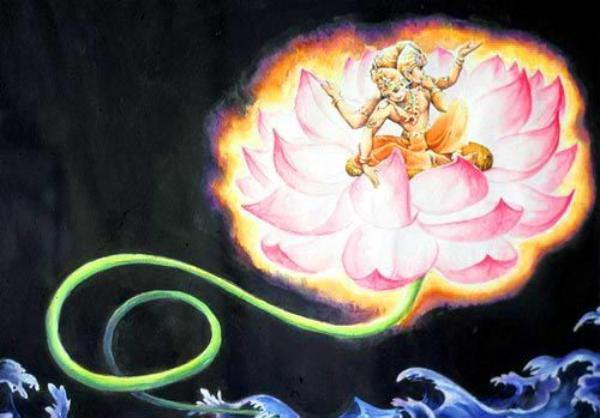 Brahma born from Lotus