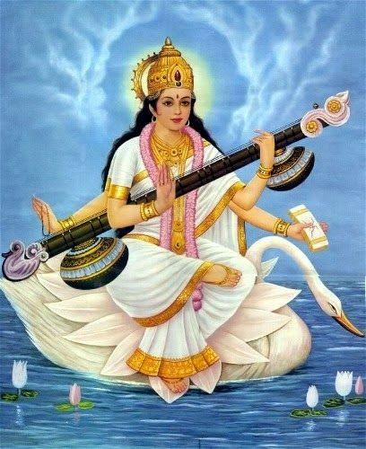 Saraswati Goddess on White Lotus