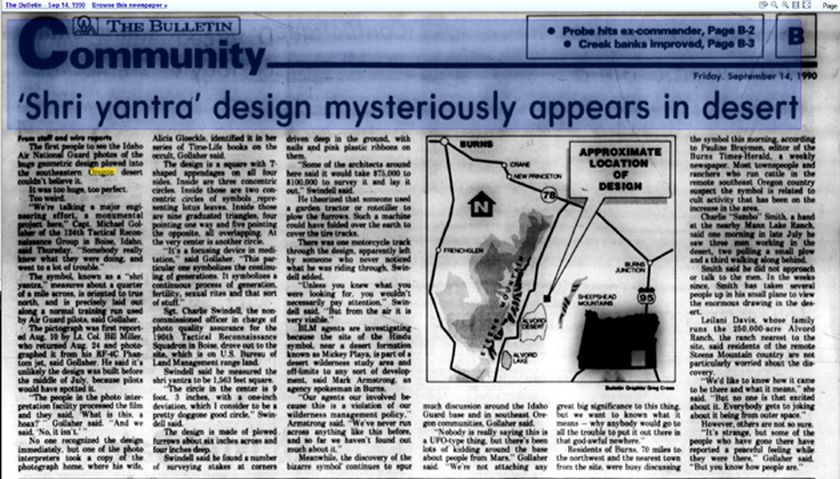Oregon Sri Yantra 8-10-1990 news article