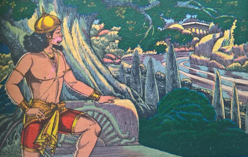 Hanuman sees River in Lanka