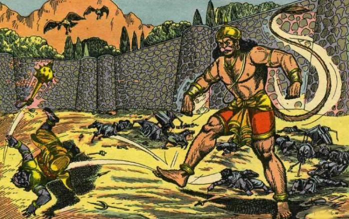Hanuman destroys Asoka Vatika