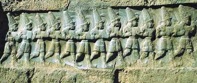 12 Hittites gods at Yazilikaya cave in Turkey