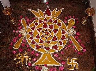 Indian Hexagram Rangoli