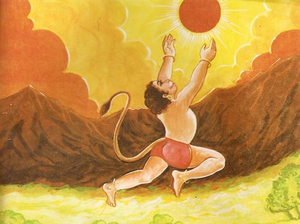 hanuman chalisa sun earth distance