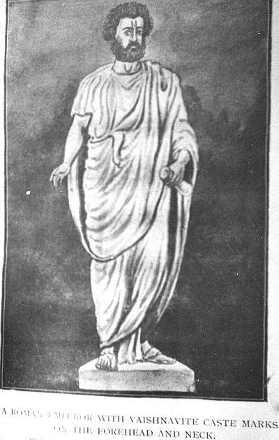 roman superior with hindu vaishnav tilak
