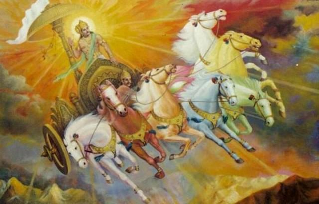 Sun chariot seven horses